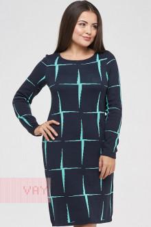 Платье женское 182-2339 Фемина (Темно-синий/ментол)