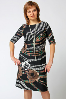 """Платье """"СКС"""" 4765 (Черный-беж-зеленый дизайн)"""
